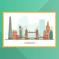 Flat Modern London City Med Landmark Vektor Illustration