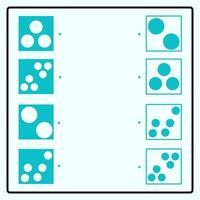 pädagogisches Puzzlespiel, das Verbindungslinien zum Finden der richtigen Paare bildet. runde Form des geometrischen Kreises. Arbeitsblatt zum Gehirntraining für Kinder vektor