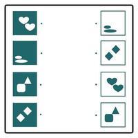 pädagogisches Puzzlespiel, das Verbindungslinien zum Finden der richtigen Paare bildet. Geometrische Figur. Arbeitsblatt zum Gehirntraining für Kinder vektor