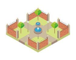 Park mit isometrischer Stilikone der Wasserquelle vektor