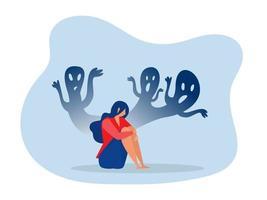 depressives Mädchen mit Angst und beängstigenden Fantasien, die Trauer, Ängste, Traurigkeitsvektorillustration empfinden vektor