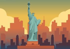 Liberty Statue På New York City Bakgrund Vektor Illustration