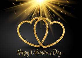 Alla hjärtans dag bakgrund med glittrande hjärtan