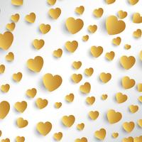 Guld hjärtan bakgrund vektor