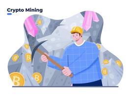 Leute, die Kryptomünze mit Spitzhacke-Konzeptillustration abbauen. Krypto-Mining-Prozess für digitale Währungen. Mann, der in meiner Höhle Bitcoin gräbt und extrahiert. erfolgreicher Krypto-Miner. vektor