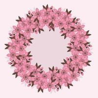 Vector Cherry Flowers Wreath