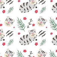 Cute Gray Tiger Pattern vektor