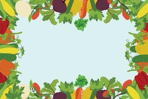 bunter Gemüserahmen aus Mais, Rüben, Gurken, Rüben, Paprika, Sellerie, Tomaten, Karotten mit Platz für Text vektor
