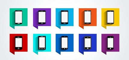 mobila enheter ikoner set, platt design, vektorillustration i 10 färger alternativ för användargränssnitt design och webbplats vektor