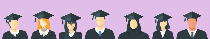 multiethnische Studenten Abschluss mit Kleid und Mütze vektor
