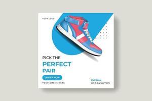 Schuhe Social-Media-Banner, Post-Vorlagen-Design vektor