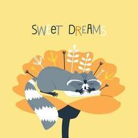 Ein süßer Waschbär schläft auf einem Kissen in einer Blume vektor