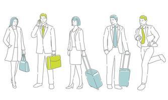 Geschäftsleute in Aktion. Einfach zu bedienendes einfaches, flaches Vektor-Illustrationsset isoliert auf weißem Hintergrund. vektor