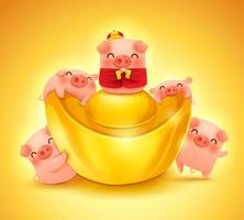 Five little pigs with chinese gold ingot vektor
