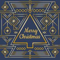 Gold Merry Christmas Card Vector