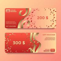 Ribbon Gift Card Voucher Templates Vector