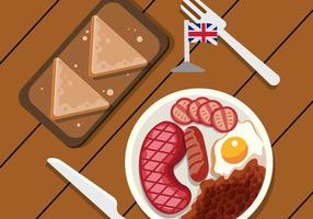 London Food Top View Vector Illustration