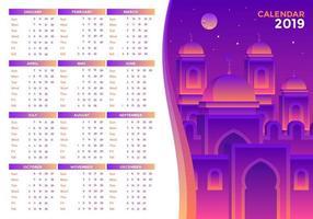 Islamic 2019 Printable Calendar Vector