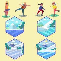 People Ice Skating  vektor