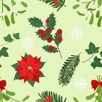 Weihnachten nahtlose Muster mit verschiedenen Pflanzen, Symbol Weihnachten und Neujahr. Vektorillustration im flachen Stil vektor