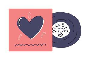 handgezeichnete Schallplatte, Retro-Design, Liebesmusikkonzept. flache Abbildung. vektor