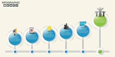 Timeline-Infografik-Roadmap mit Business-Icons für das Vorlagenmeilensteinelement, moderne Diagrammprozessdiagramm-Vektorillustration. vektor