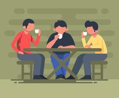 Coffee Shop Meeting Illustration