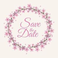 Flat Save the Date Cherry Blossom Frame Vector Illustration