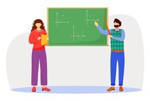 Lehrer erklärt mathematische Diagramme auf flacher Vektorillustration der Tafel. Studienprozess an der Universität, Schule. Mathematik lernen. Professor und Student isolierte Zeichentrickfiguren auf weißem Hintergrund vektor
