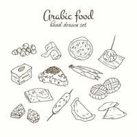 Arabic food vector set. Arabian cuisine illustration.