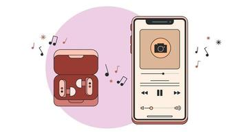 Music Player or Phone and Headphones Vector