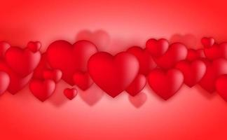 Valentines day hearts, Love balloons on red background vektor