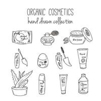 Vector cosmetic bottles. Organic cosmetics illustration. Doodle skin care items. Herbal hand drawn set. Spa elements in sketchy style.