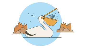 Fishing Pelican Vector