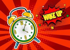 Pop art  background with comic alarm clock ringing vektor