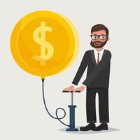 Man in glasses with beard blowing a balloon up