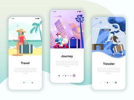 Set of onboarding screens user interface kit for Travel, Journey, Traveler, mobile app templates concept. Modern UX, UI screen for mobile or responsive web site. Vector illustration.