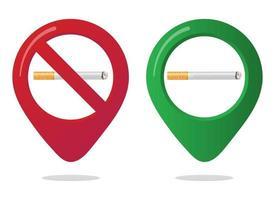 Nichtraucher- und Raucherbereich-Markierungs-Pin-Symbol-Zeichensatz mit flacher Zigarette im Farbverlauf im verbotenen roten Kreis Symbol des Raucherbereichs in den Karten-Apps isoliert auf weißem Hintergrund vektor