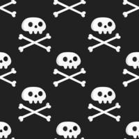nahtloses Muster mit weißen Totenköpfen und gekreuzten Knochen bone vektor