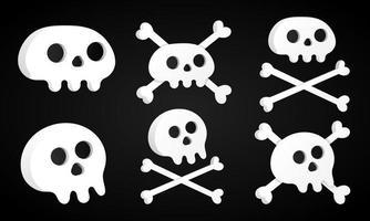 6 einfache, flache Design-Schädel mit gekreuzten Knochen-Set vektor
