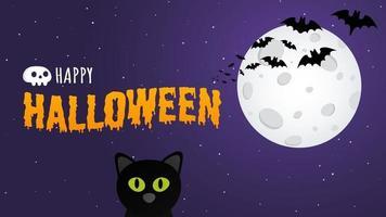 Happy Halloween Textpostkartenbanner mit Hexenkatze, Fledermäusen und Text vektor