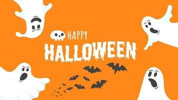 Happy halloween text postkartenbanner mit gruseligem gesicht der geister vektor