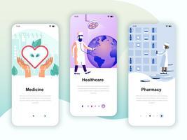 Set Onboarding-Bildschirme für die Benutzeroberfläche für die Medizin