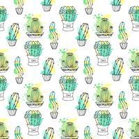 Seamless vektor mönster med kaktus