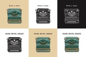 Set mit 6 Vintage-Karten mit Schreibmaschinen. vektor