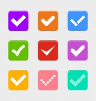 Bestätigen Sie den Symbolsatz, grafischen Illustrationsvektor