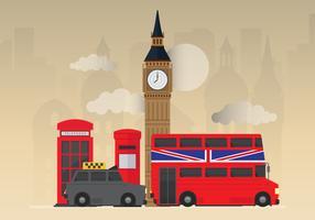 London-Skyline der Stadt mit berühmten Gebäuden vektor