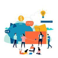 Geschäfts- und Finanzdienstleistungen, Gelddarlehen, Vektor-Illustrationsdesign der Budgetplanung flaches vektor