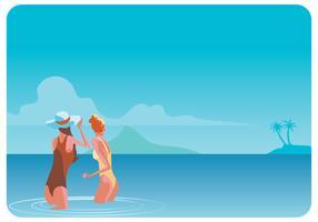 Zwei Mädchen am Strand Vektor