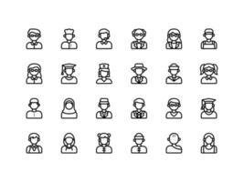 Benutzer-Avatar-Umriss-Icon-Set vektor
